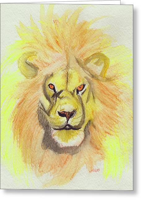 C.s Lewis Greeting Cards - Lion yellow Greeting Card by First Star Art