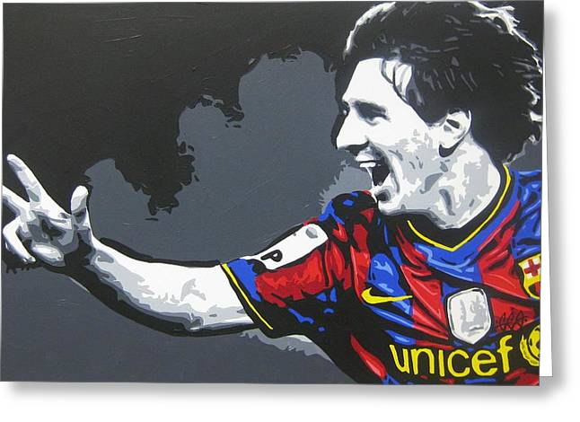 Lionel Messi Greeting Cards - Lionel Messi - Barcelona Fc 3 Greeting Card by Geo Thomson