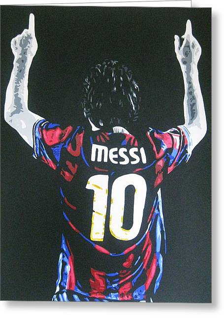 Lionel Greeting Cards - Lionel Messi - Barcelona Fc Greeting Card by Geo Thomson