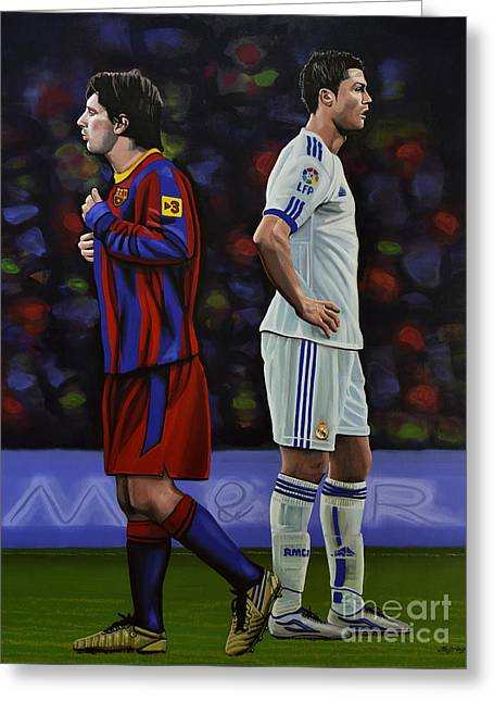 League Greeting Cards - Lionel Messi and Cristiano Ronaldo Greeting Card by Paul Meijering