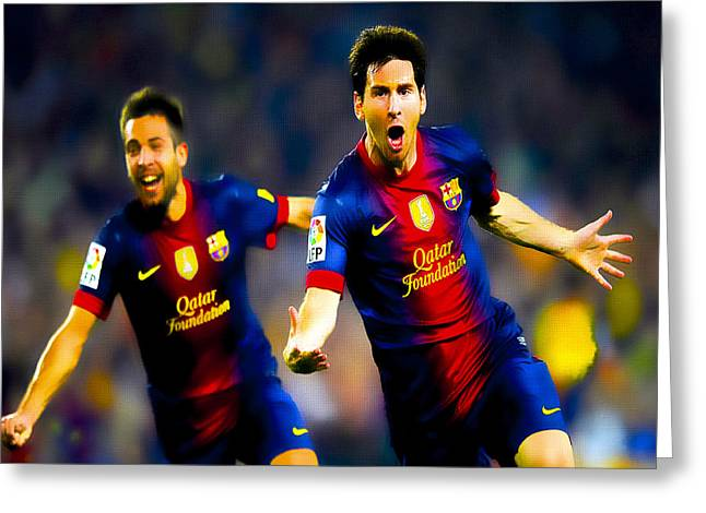 Euro 2012 Greeting Cards - Lionel Messi and Jordi Alba Greeting Card by Brian Reaves
