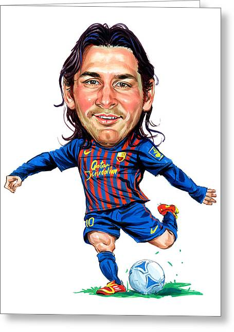 Famous Person Greeting Cards - Lionel Messi Greeting Card by Art