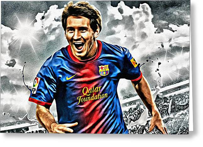 Liga Greeting Cards - Lionel Messi Celebration Poster Greeting Card by Florian Rodarte