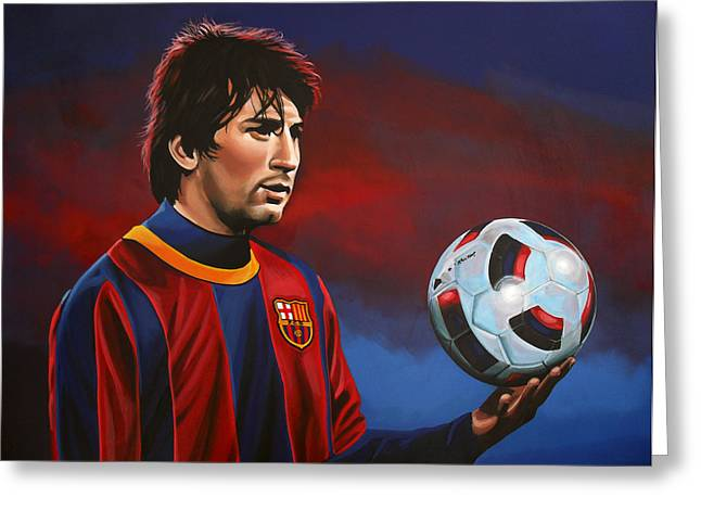 Team Paintings Greeting Cards - Lionel Messi  Greeting Card by Paul Meijering