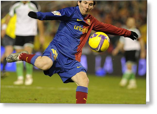 Argentinian Football Greeting Cards - Lionel Messi Greeting Card by Rafa Rivas
