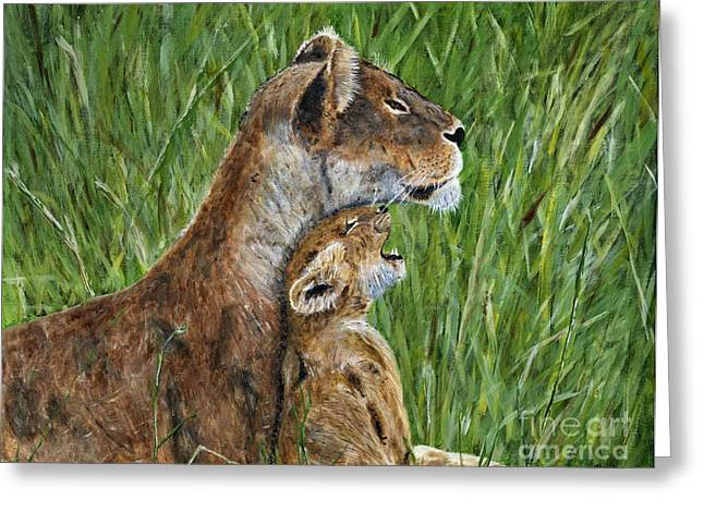 Lioness Greeting Cards - Lioness and Cub Painting Greeting Card by Timothy Hacker