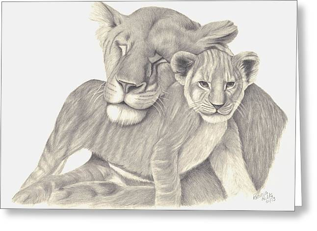 Lioness Drawings Greeting Cards - Lioness and Cub Greeting Card by Patricia Hiltz