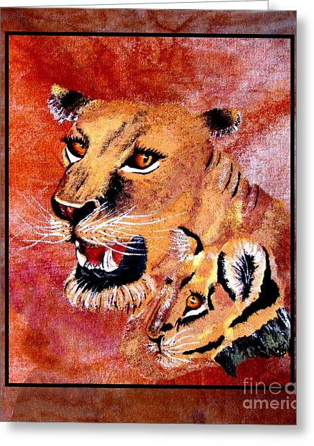 Lions Tapestries - Textiles Greeting Cards - Lioness and Cub Greeting Card by Sylvie Heasman
