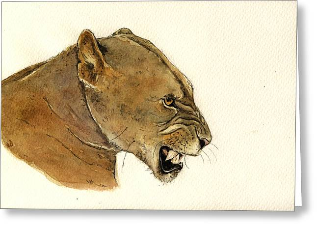 Lioness Greeting Cards - Lioness Greeting Card by Juan  Bosco