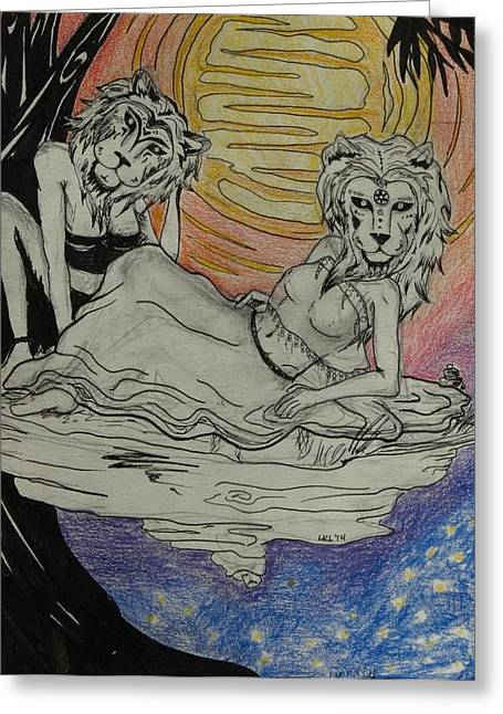 Lions Greeting Cards - Lioness Greeting Card by Lorri Lanig
