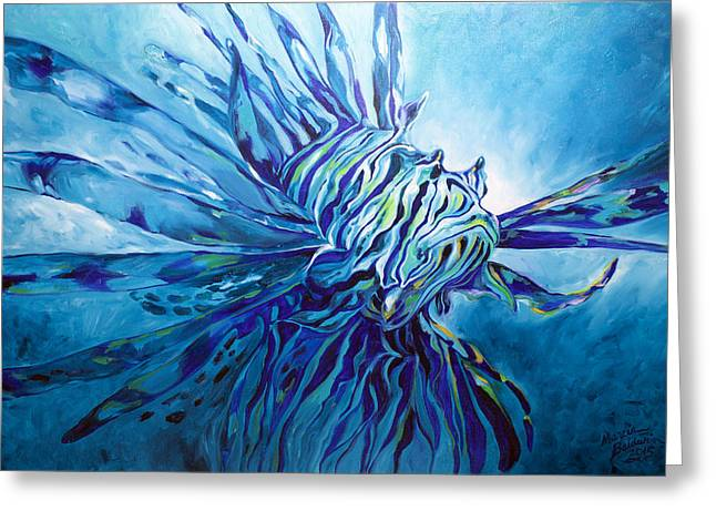Sea Lions Paintings Greeting Cards - Lionfish Abstract Blue Greeting Card by Marcia Baldwin