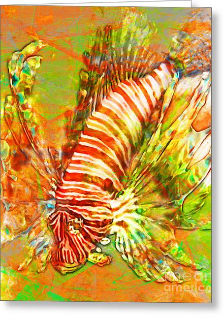 Aquarium Fish Digital Greeting Cards - Lionfish In Living Color 5d24143 Greeting Card by Wingsdomain Art and Photography