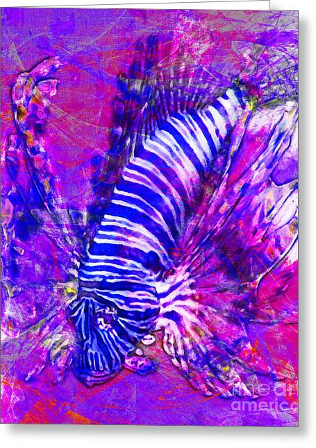 Aquarium Fish Digital Greeting Cards - Lionfish In Living Color 5d24143m118m18 Greeting Card by Wingsdomain Art and Photography