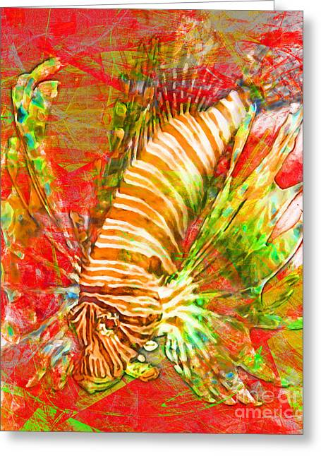 Snorkel Digital Greeting Cards - Lionfish In Living Color 5d24143m288p38 Greeting Card by Wingsdomain Art and Photography