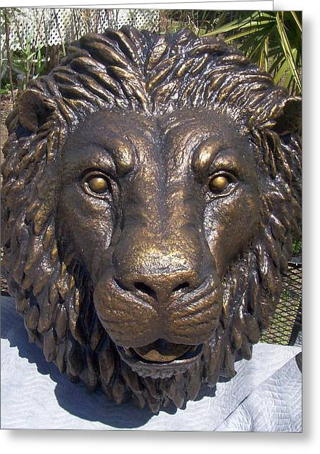 Custom Sculptures Greeting Cards - Lionhead Tuscanbronze 3X4Ft Greeting Card by Chris Dixon