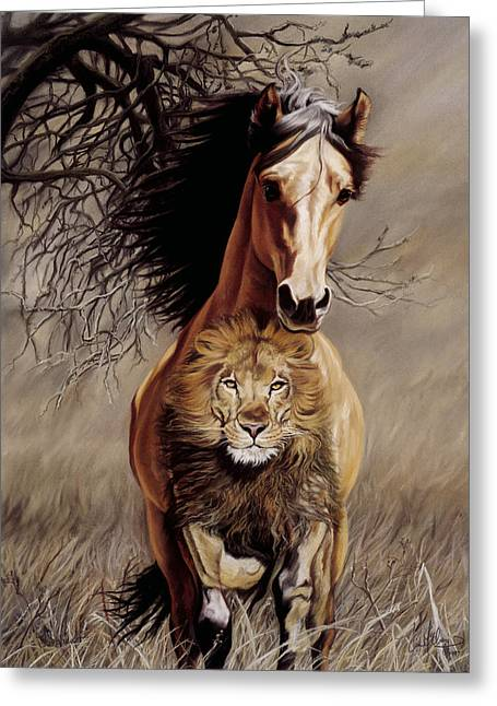 Courage Pastels Greeting Cards - Lionheart Greeting Card by Kim McElroy
