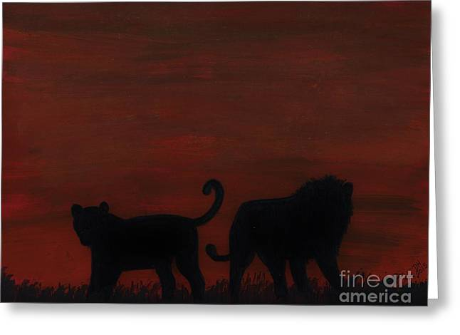 Best Sellers Drawings Greeting Cards - Lions At Sunset Greeting Card by D Hackett