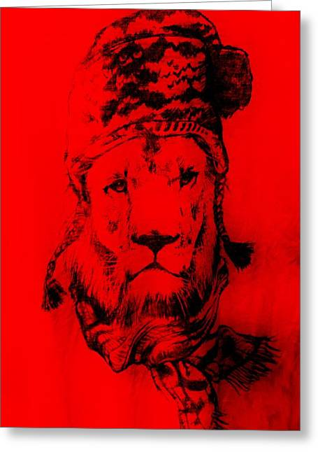 Crimson Drawings Greeting Cards - Winters Lion Red Greeting Card by Rob Hans