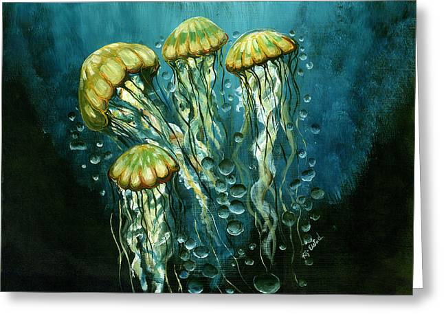 Jelly Fish Greeting Cards - Lions Den Greeting Card by Kija  Elstad