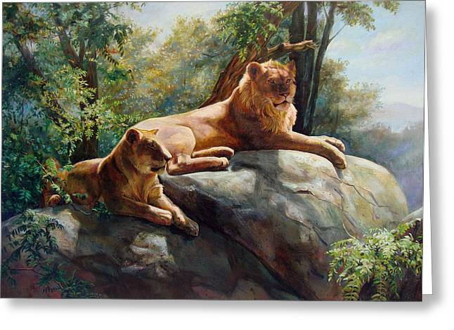 Royal Family Arts Digital Art Greeting Cards - King and Queen - Forever and Always Together. Two Lions Greeting Card by Svitozar Nenyuk