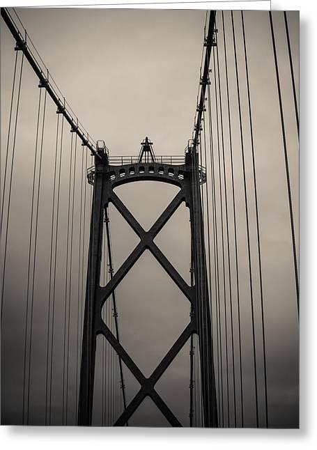 Lions Gate Bridge Digital Greeting Cards - Lions gate bridge abstract black and white Greeting Card by Eti Reid