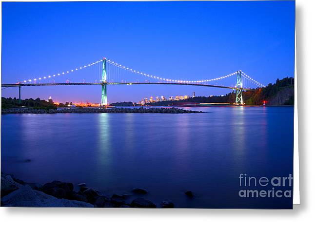 Burrard Inlet Greeting Cards - Lions Gate Bridge At Dusk 2 Greeting Card by Terry Elniski