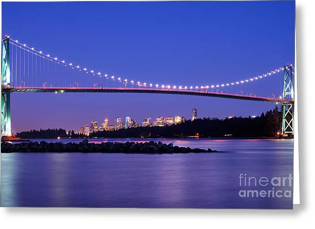 Burrard Inlet Greeting Cards - Lions Gate Bridge At Dusk 3 Greeting Card by Terry Elniski