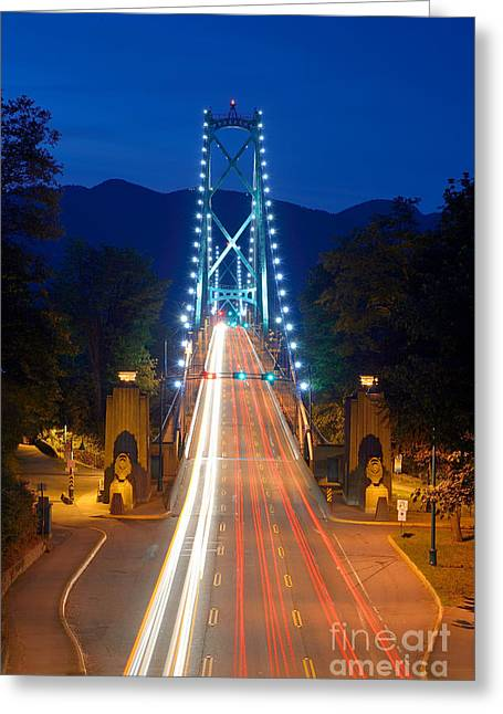 Vancouver At Night Greeting Cards - Lions Gate Bridge At Dusk Greeting Card by Terry Elniski