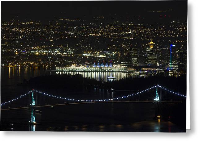 Vancouver At Night Greeting Cards - Lions Gate Bridge at Night Greeting Card by Jeremy Oberg