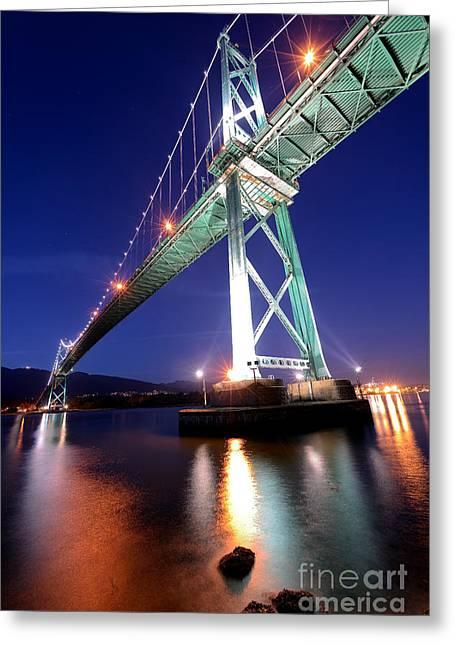 Lions Gate Bridge Greeting Cards - Lions Gate Bridge At Night Greeting Card by Terry Elniski