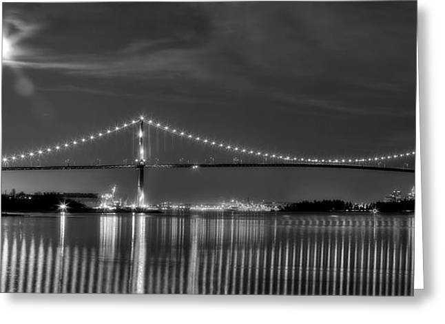 Lions Gate Bridge Greeting Cards - Lions Gate Bridge Black and White Greeting Card by Naman Imagery