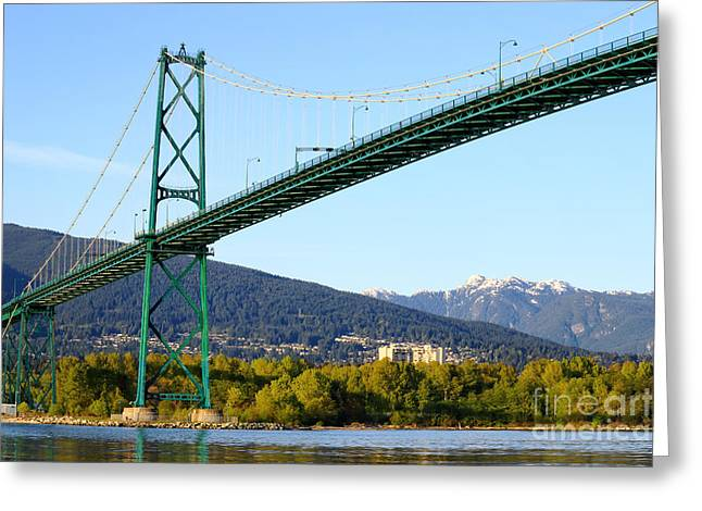 North Vancouver Greeting Cards - Lions Gate Bridge Greeting Card by Charline Xia
