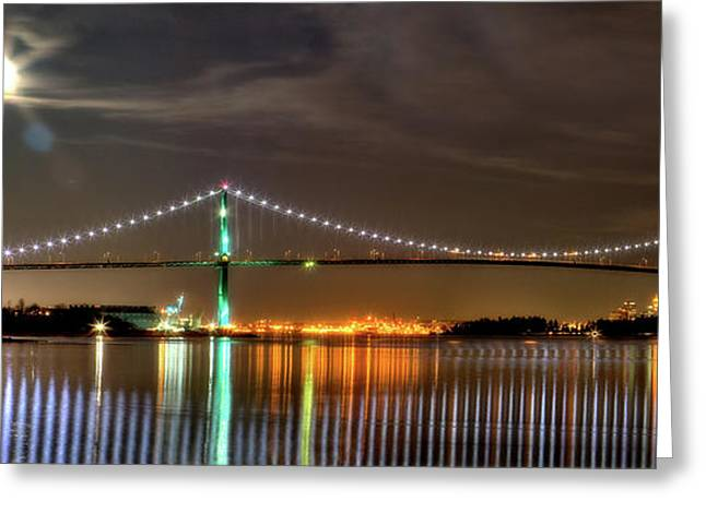 Stanley Park Greeting Cards - Lions Gate Bridge in Colour Greeting Card by Naman Imagery