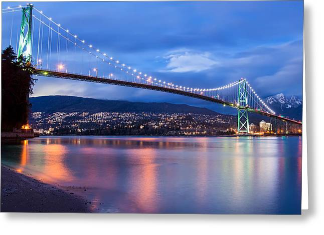 Stanley Street Greeting Cards - Lions Gate Bridge Just After Sunset Greeting Card by James Wheeler