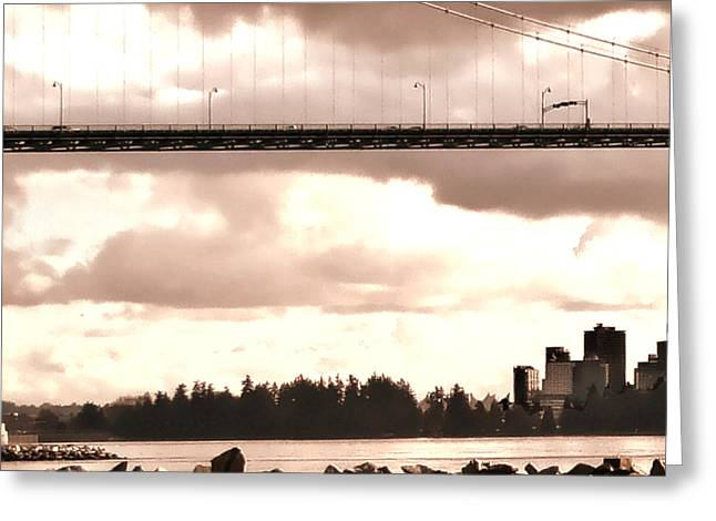 North Vancouver Digital Greeting Cards - Lions Gate Bridge Rose Left Greeting Card by Patricia Keith