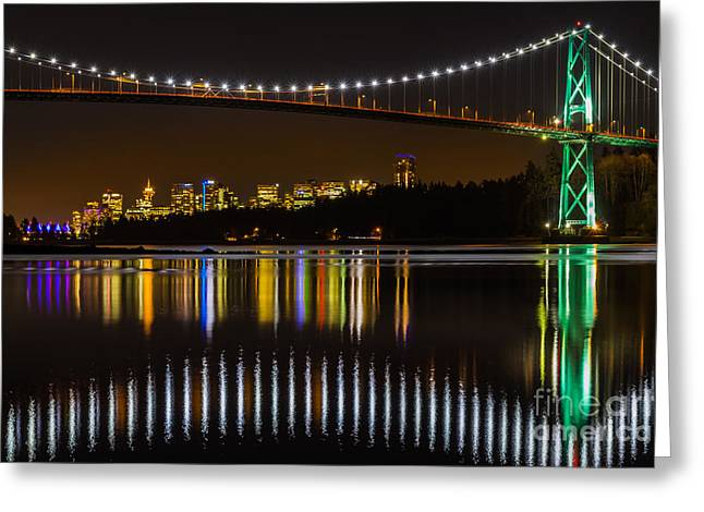Vancouver At Night Greeting Cards - Lions gate bridge  Greeting Card by Max Rose