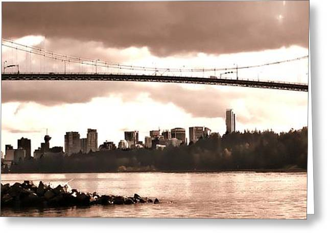 North Vancouver Digital Greeting Cards - Lions Gate Bridge Panorama Greeting Card by Patricia Keith