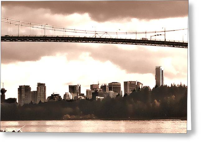 North Vancouver Digital Greeting Cards - Lions Gate Bridge Rose Centre Greeting Card by Patricia Keith