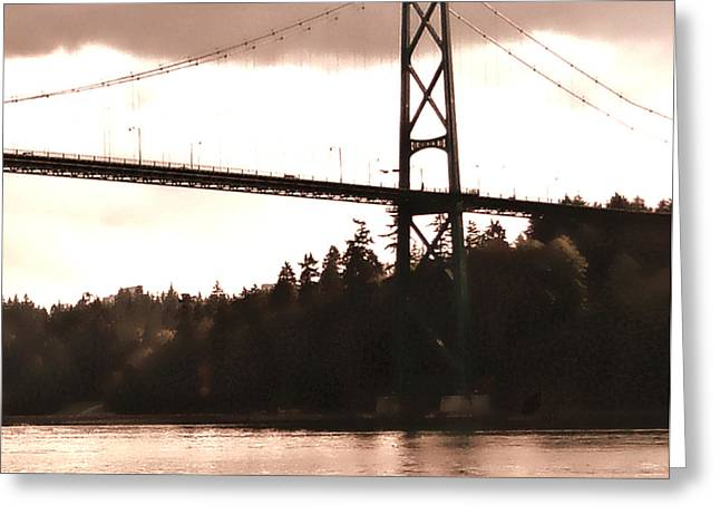 North Vancouver Digital Greeting Cards - Lions Gate Bridge Rose Right Greeting Card by Patricia Keith