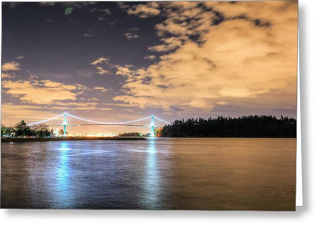North Vancouver Digital Greeting Cards - Lions gate bridge Vancouver at night Greeting Card by Eti Reid