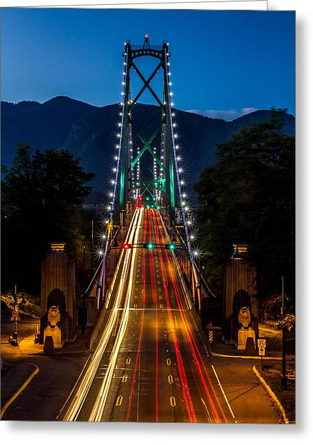 North Vancouver Greeting Cards - Lions Gate Bridge Vancouver B.C Canada Greeting Card by Pierre Leclerc Photography