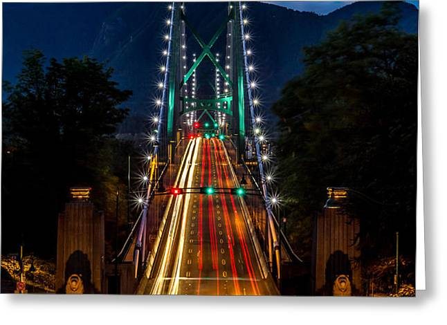 Lion's Gate Bridge Vancouver B.C Canada Greeting Card by Pierre Leclerc Photography