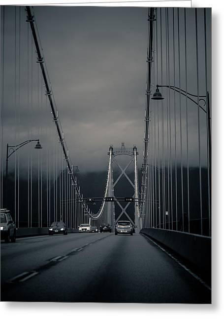 Lions Gate Bridge Digital Greeting Cards - Lions gate bridge Vancouver Greeting Card by Eti Reid
