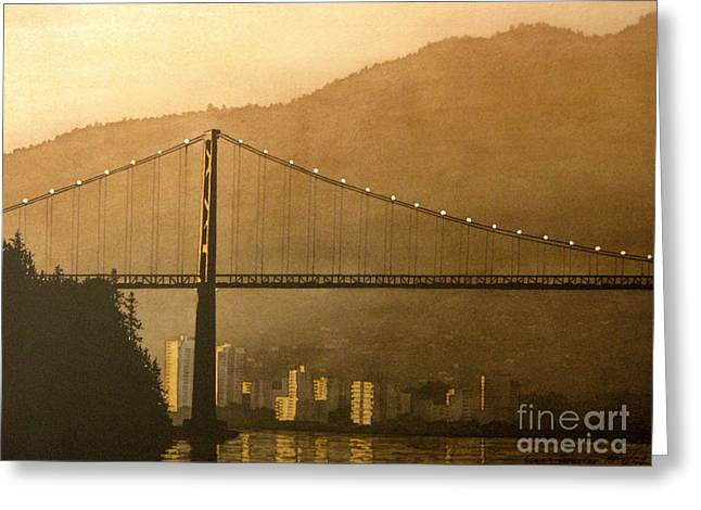 Lions Gate Bridge Paintings Greeting Cards - Lions Gate Greeting Card by Frank Townsley