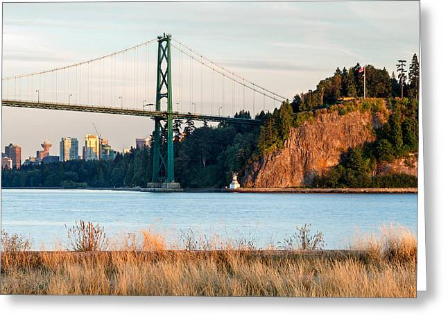 Prospects Greeting Cards - Lions Gate from Ambleside Beach Greeting Card by Michael Russell
