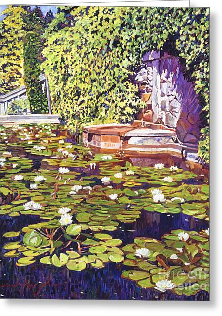 Vines Greeting Cards - Lions Head Fountain Greeting Card by David Lloyd Glover