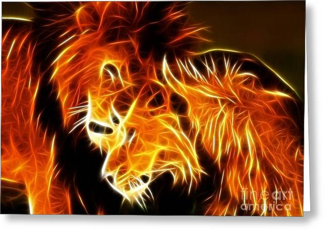 Awesome Mixed Media Greeting Cards - Lions in Love Greeting Card by Pamela Johnson