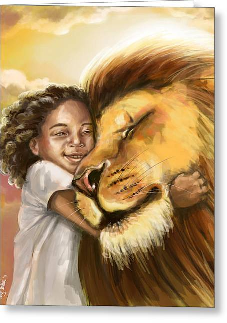 Soaked Greeting Cards - Lions Kiss Greeting Card by Tamer and Cindy Elsharouni