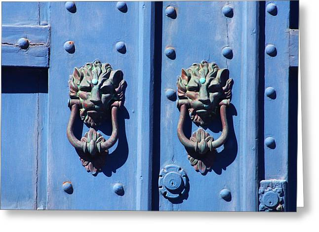 Cambria Photographs Greeting Cards - Lions on Blue Door Greeting Card by Art Block Collections