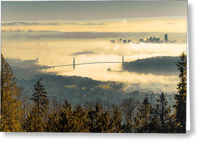North Vancouver Digital Greeting Cards - Lions sea fog Greeting Card by Lee Buckley